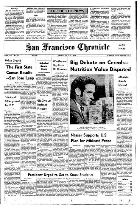 The Chronicle's front page from July 24, 1970, covers a report on the healthfulness of breakfast cereals.