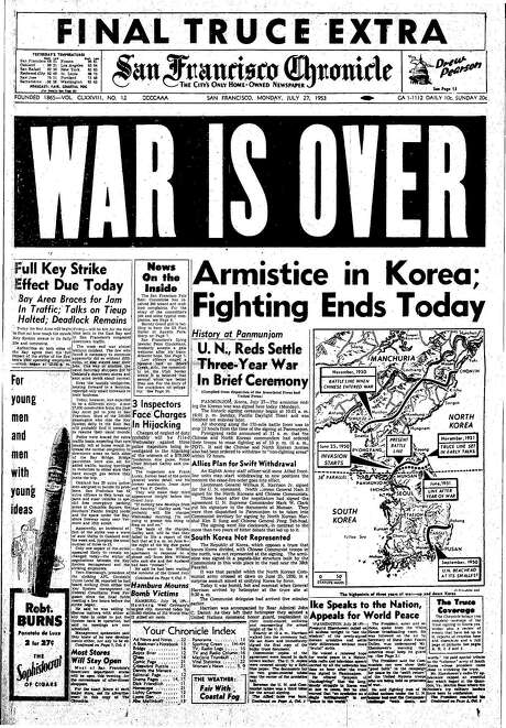 The Chronicle's front page from July 27, 1953, covers the end of the Korean War. Photo: The Chronicle 1953