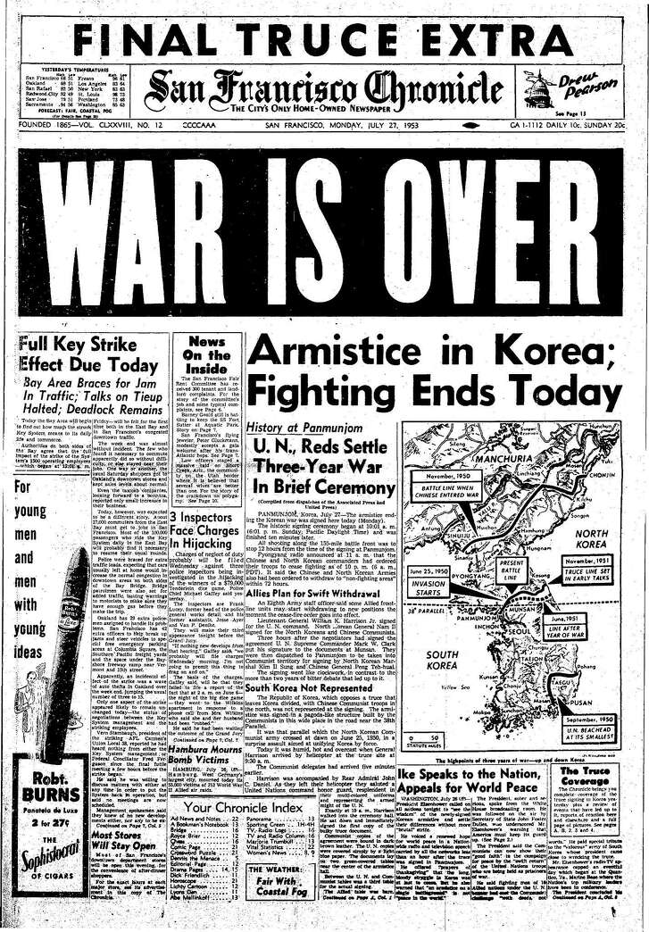 Historic Chronicle Front Page July 27, 1953 Korean War is over,     Chron365, Chroncover
