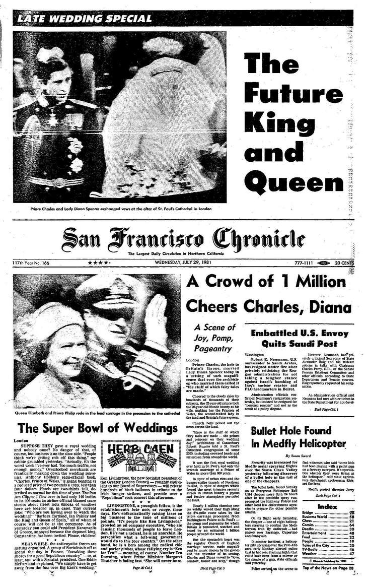 Historic Chronicle Front Page July 29, 1981  Princess Charles marries Lady Diana Spencer      Chron365, Chroncover