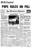 Historic Chronicle Front Page July 30, 1968  Pope Paul VI upholds ban on birth control     Chron365, Chroncover