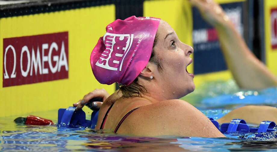 Cammile Adams reacts after winning the women's 200-meter butterfly final at the U.S. Olympic swimming trials, Thursday, June 30, 2016, in Omaha, Neb. (AP Photo/Mark J. Terrill) Photo: Mark J. Terrill, Associated Press / Copyright 2016 The Associated Press. All rights reserved. This material may not be published, broadcast, rewritten or redistribu