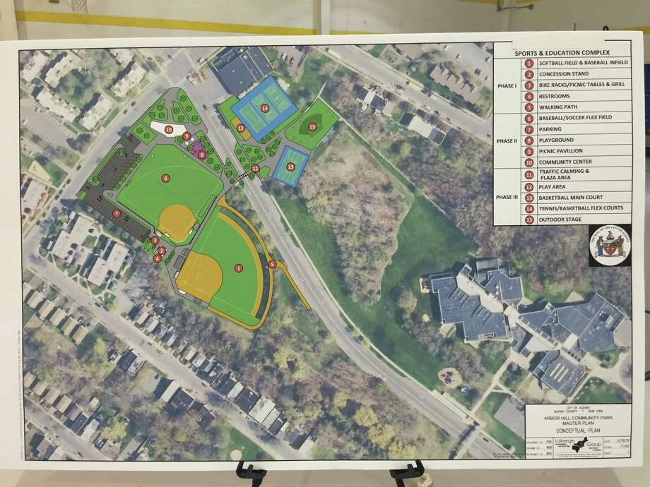 Draft plans for Arbor Hill Park, which includes three separate phases of improvements. (Amanda Fries/Times Union)