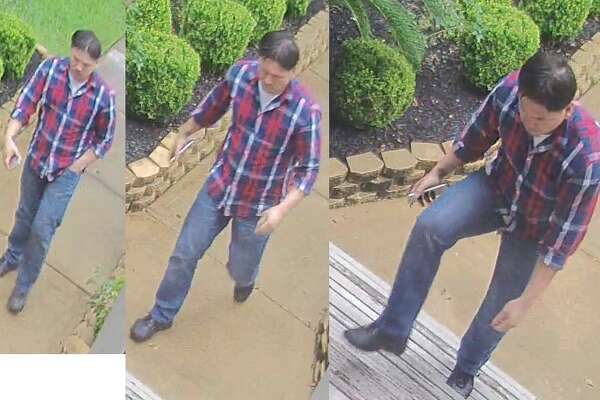 An unidentified man is caught on camera walking up to Heights resident Chris McAndrew's home on Tuesday, June 28, 2016 and stealing a package off of his back porch. 