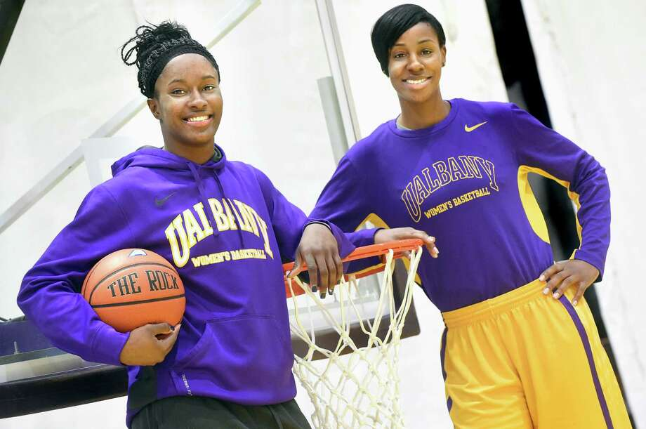 UAlbany's basketball player Shereesha Richards, left, and assistant coach Isoken Uzamere on Friday, Jan. 29, 2016, at SEFCU Arena in Albany, N.Y. (Cindy Schultz / Times Union) Photo: Cindy Schultz / Albany Times Union