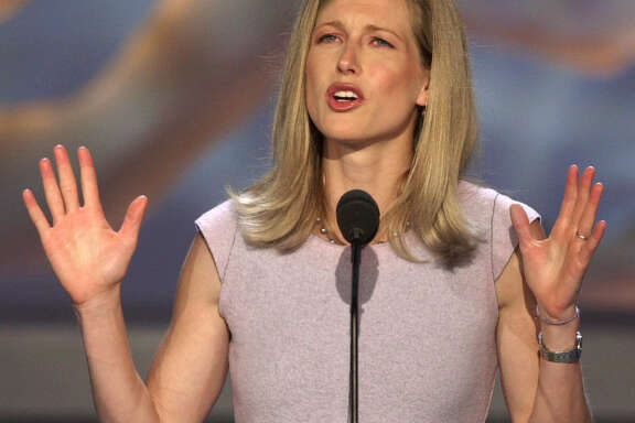 FILE - In this Aug. 16, 2000 file photo,  Karenna Gore Schiff, daughter of Democratic presidential candidate Vice President Al Gore, speaks at the Democratic National Convention in the Staples Center in Los Angeles. Organizers say the daughter of former Vice President Al Gore was among 23 people who were arrested Wednesday, June 29, 2016, 109during a protest of Spectra Energy's so-called West Roxbury Lateral pipeline. (AP Photo/Ron Edmonds, file)