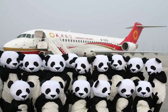 People in panda outfits pose by a Chengdu Airlines ARJ21-700 plane before its first commercial flight.