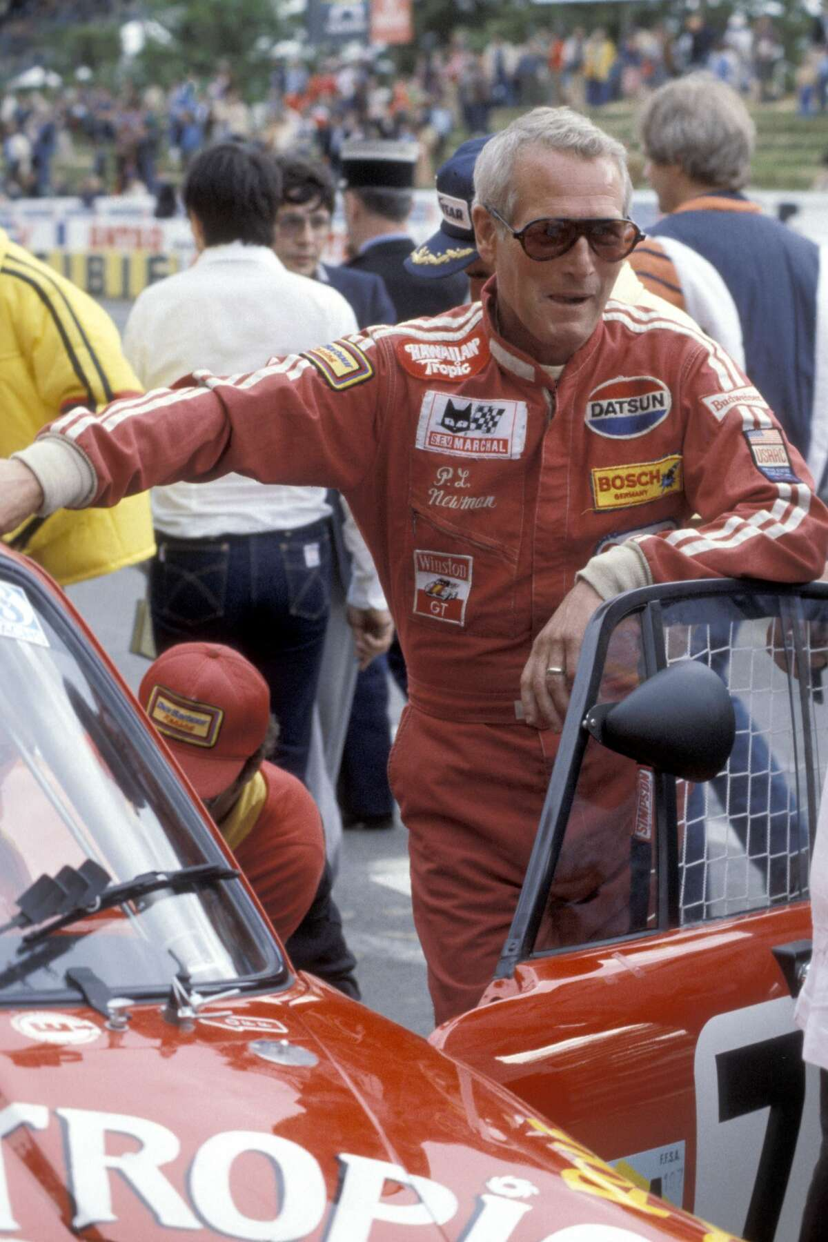 Paul Newman participating in the 24-hour Le Mans car race in 1979.