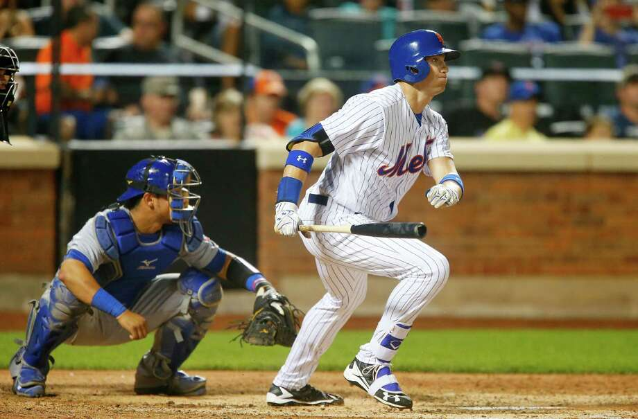 NEW YORK, NY - JUNE 30:  Brandon Nimmo #9 of the New York Mets follows through on a seventh-inning, RBI base hit against the Chicago Cubs at Citi Field on June 30, 2016 in the Flushing neighborhood of the Queens borough of New York City.  (Photo by Jim McIsaac/Getty Images) ORG XMIT: 607680845 Photo: Jim McIsaac / 2016 Getty Images