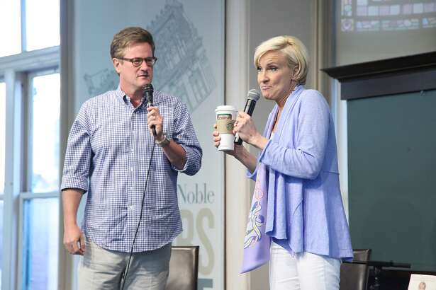 "Mika Brzezinski (R) and Joe Scarborough, host of Morning Joe on MSNBC promote her new book ""Obsessed: The Fight Against America's (and My Own) Food Addiction"" at Barnes and Noble Union Square on May 13, 2013 in New York, United States."