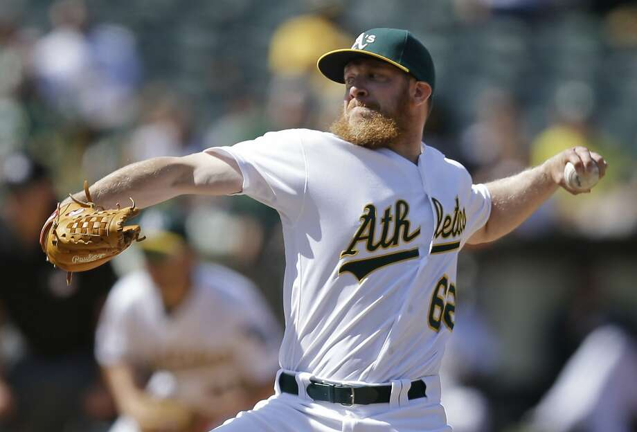 Oakland Athletics' Sean Doolittle works against the Detroit Tigers in the ninth inning of a baseball game Sunday, May 29, 2016, in Oakland, Calif. (AP Photo/Ben Margot) Photo: Ben Margot, Associated Press