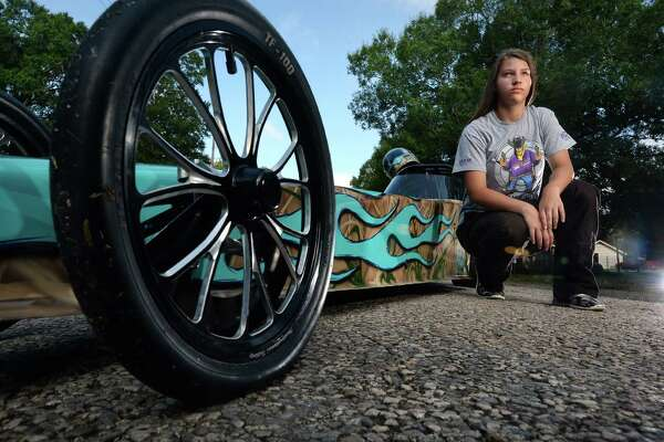 After only four months behind the wheel of her dragster, Kinley Wolfford, 12, of Mauriceville recently won the Western Conference of the National Hotrod Association's junior league.   Photo taken Wednesday, June 29, 2016 Guiseppe Barranco/The Enterprise