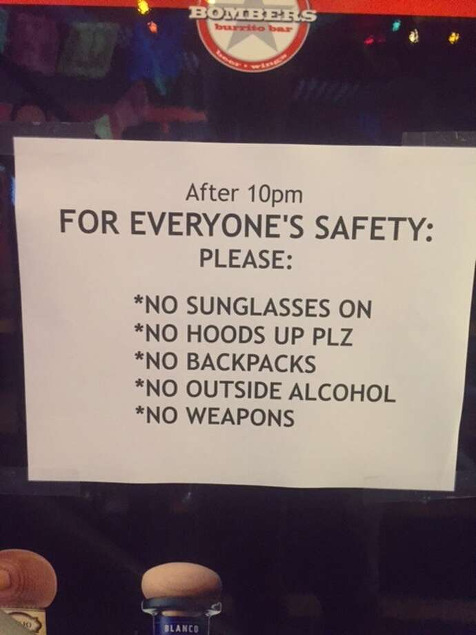 The Bombers Burrito Bar in downtown Schenectady restaurant changed the sign outlining its dress code against baggy clothing with lines stressing the reason for the rules was safety.