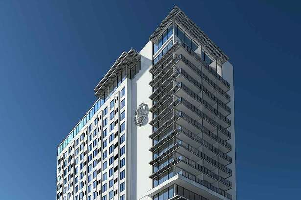 The HDRC will vote Wednesday on a plan to build a 225-foot-tall hotel tower on a vacant lot at 100 North Main St.