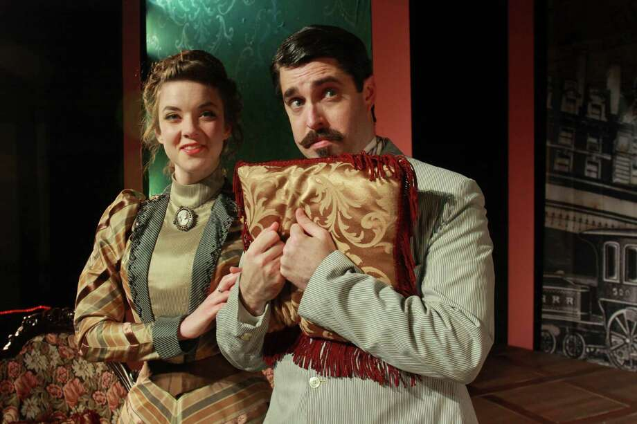 """(For the Chronicle/Gary Fountain, April 8, 2014) Lindsay Ehrhardt as Gwendolyn, and John Johnston as Jack, in this scene from Classical Theatre Company's production of Oscar Wilde's classic comedy of manners, """"The Importance of Being Earnest."""" Photo: Gary Fountain, For The Chronicle / Copyright 2014 by Gary Fountain"""
