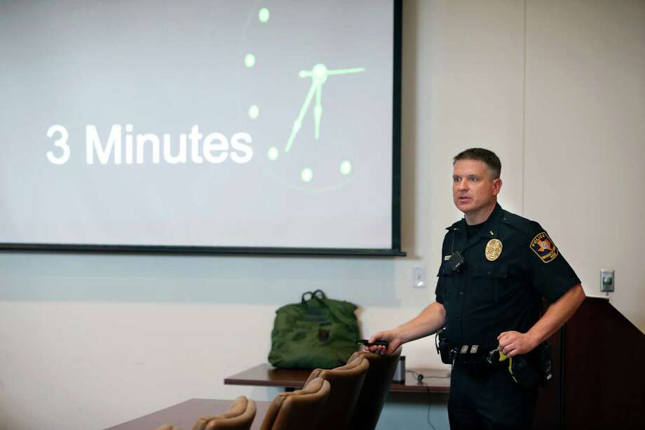Lt. Richard Wilson, of the University of Texas System police gives a presentation Thursday, June 30, 2016 on the UTHSCSA campus about how non-law enforcement people should respond to a so-called active shooter situation. He said his department goal is to having three officers on the scene of an active shooter incident in three minutes. Photo: William Luther, Staff / San Antonio Express-News / © 2016 San Antonio Express-News