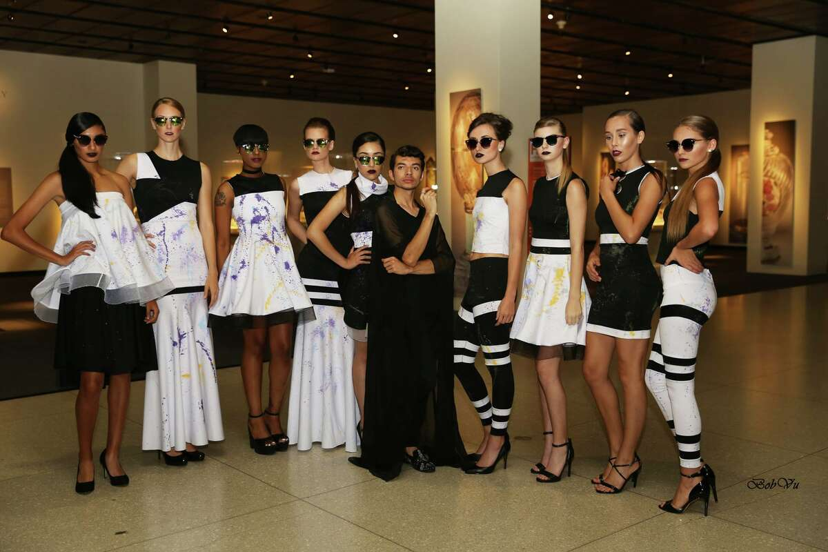 Alan Gonzalez, center, with models at his Alantude Fall Winter 2016 Fashion Show at the Houston Museum of Natural Science.