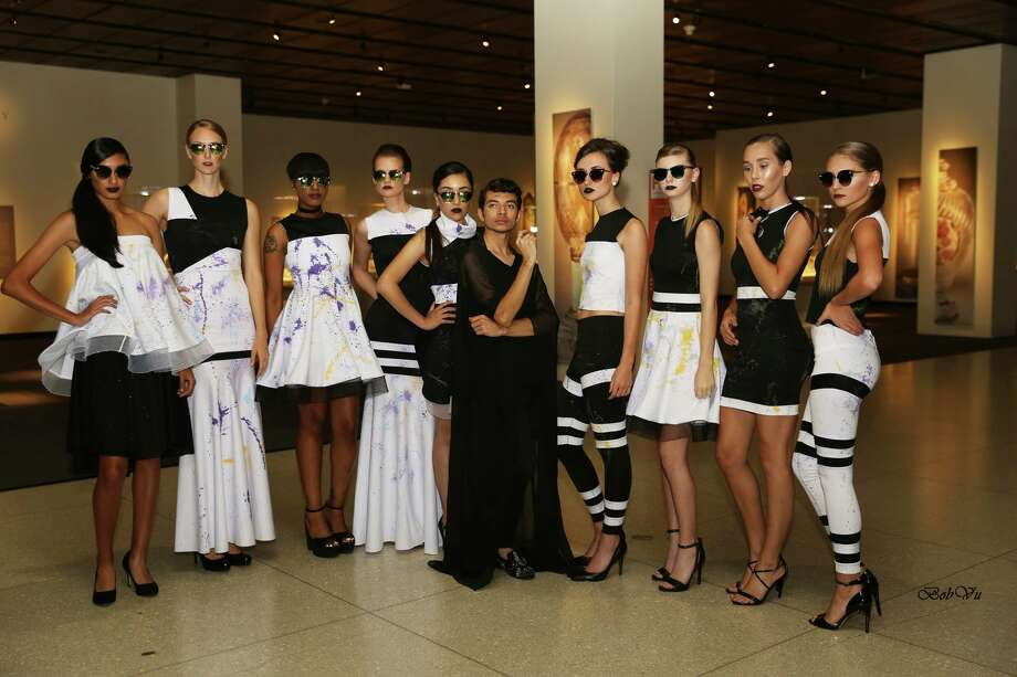 Alan Gonzalez, center, with models at his Alantude Fall Winter 2016 Fashion Show at the Houston Museum of Natural Science.  Photo: Courtesy Photos