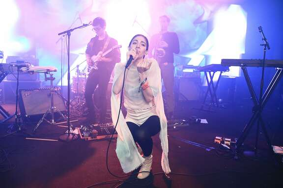 AUSTIN, TX - MARCH 17:  Caroline Polachek of Chairlift performs on stage at YouTube At Coppertank during the 2016 SXSW Music, Film + Interactive Festival on March 17, 2016 in Austin, Texas.  (Photo by Neilson Barnard/Getty Images for SXSW)