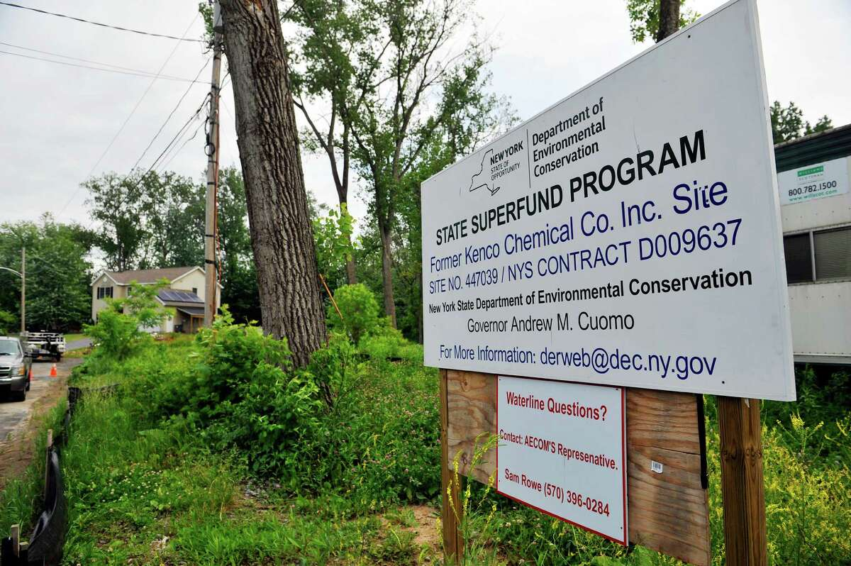 A view of the staging area for construction equipment and supplies for the water line connections being done in the Sunnyside Gardens housing development on Wednesday, June 8, 2016, in Glenville, N.Y. Homeowner's wells were threatened with contamination from dry cleaning chemicals. (Paul Buckowski / Times Union)