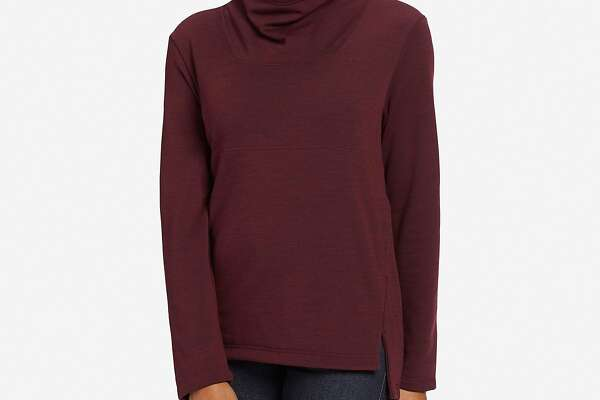 The Nau Randygoat Pullover, made from midweight heathered Merino wool, has a soft recycled poly fleece backing that�s so cozy you may never want to take it off.