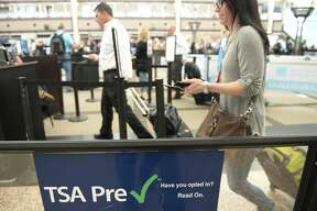 DENVER, CO - MAY 20: The TSA Pre Check is growing in popularity as travelers are looking ways to improve their times getting through long securityscreening lines. At Denver International Airport in the main terminal  travelers pass through a much shorter line because they have the Pre Check pass on Friday, May 20, 2016. (Photo by Cyrus McCrimmon/The Denver Post via Getty Images )