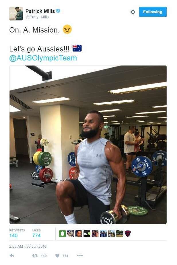Patty Mills lets his followers know he isn't taking any days off from the gym with a photo of his latest gains. Photo: Twitter