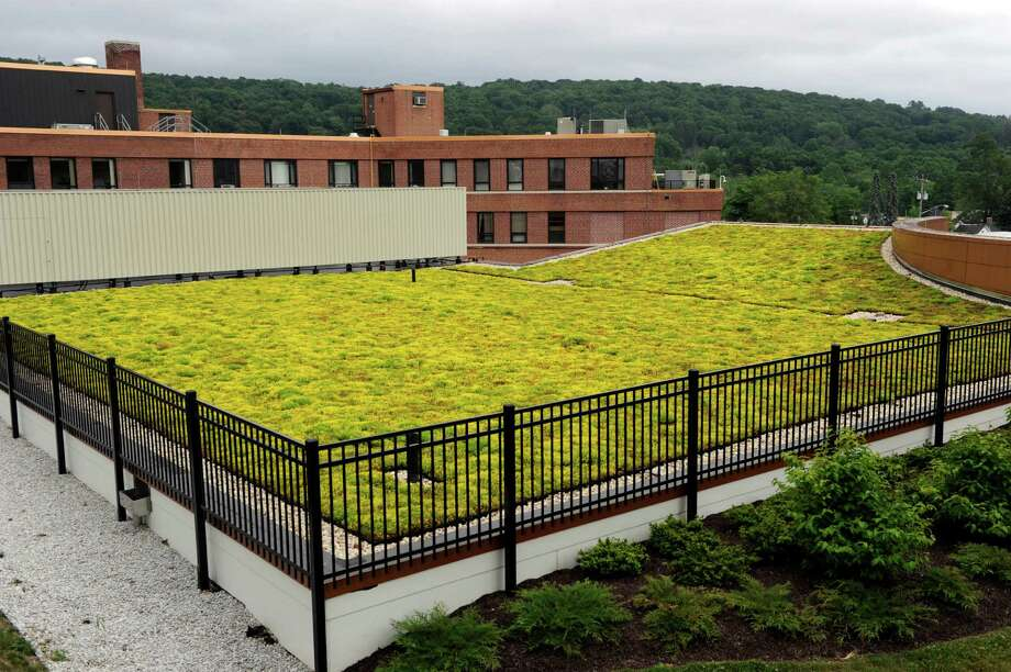 "The sedums – tens of thousands of them — carpeting the roof of the Arnhold Emergency Department at New Milford Hospital are in bright yellow blossom. Come September, they'll be rusty red. Installed last fall, the 6,000 square-foot roof is one of the largest ""green"" roofs in western Connecticut. Photo Wednesday, June 28, 2016. Photo: Carol Kaliff / Carol Kaliff / The News-Times"