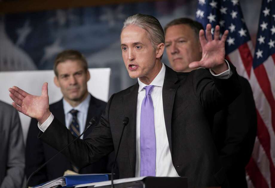 House Benghazi Committee Chairman Rep. Trey Gowdy, R-S.C. (center), joined by Rep. Jim Jordan, R-Ohio (left), and Rep. Mike Pompeo, R-Kan., discusses the release of his final report on the 2012 attacks on the U.S. Consulate in Benghazi, Libya. The report offered nothing new — just repetition. Photo: J. Scott Applewhite /Associated Press / AP