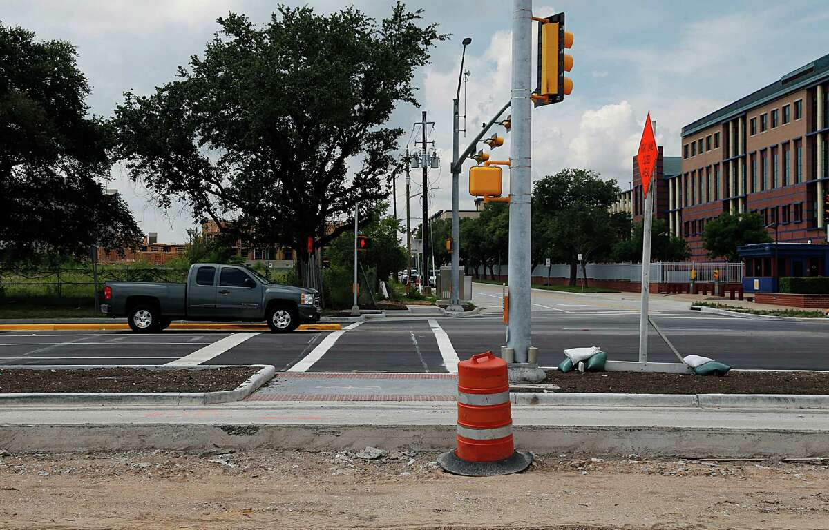 A new intersection and crosswalk at Allen Parkway and Gillette, which is part of improvements to the Buffalo Bayou Park area, seen on July 1.