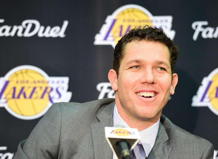 EL SEGUNDO, CA - JUNE 21:  Luke Walton speaks to the press as he is introduced as the new head coach becoming the 26th Los Angeles Laker head coach at Toyota Sports Center on June 21, 2016 in El Segundo, California.  (Photo by Harry How/Getty Images)