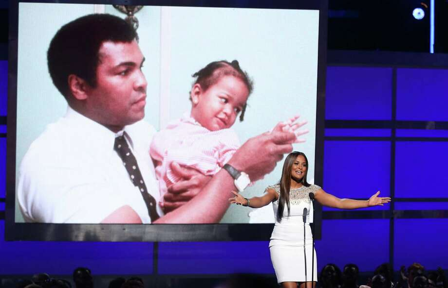 Laila Ali speaks during a tribute to her late father, Muhammad Ali, at the BET Awards at the Microsoft Theater on Sunday, June 26, 2016, in Los Angeles. (Photo by Matt Sayles/Invision/AP) Photo: Matt Sayles / Associated Press / Invision