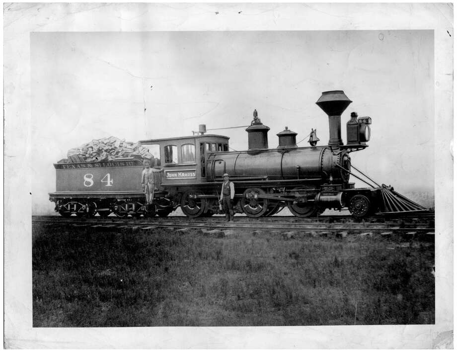 "A wood-burning locomotive, the ""John Krauss"" of the Texas and St. Louis Railway Co., pulled the first train on the Tyler Tap Railroad."
