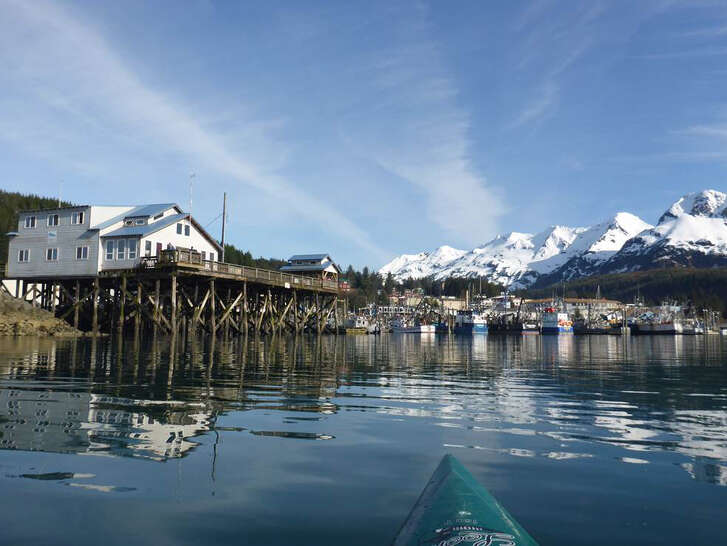 The fishing village of Cordova, Alaska, is three miles from Orca Lodge, Points North's heli-skiing base.