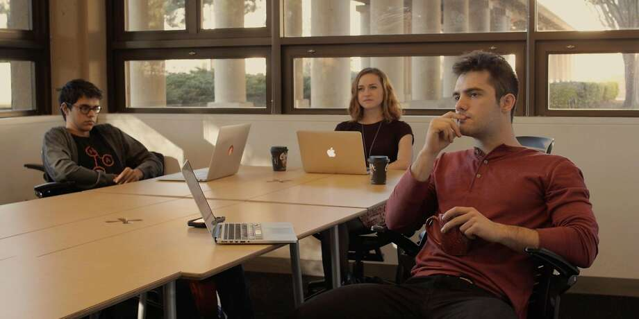 """Jay Moon (left), Ellen Woods and Elias Mooring star in the Web series """"At Bay,"""" which pokes fun at Stanford and the startup culture. Photo: Jay Moon"""
