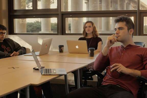 "Jay Moon, Ellen Woods, and Elias Mooring star in the Stanford student web series ""At Bay,"" a noir-inspired drama about a tech startup company."