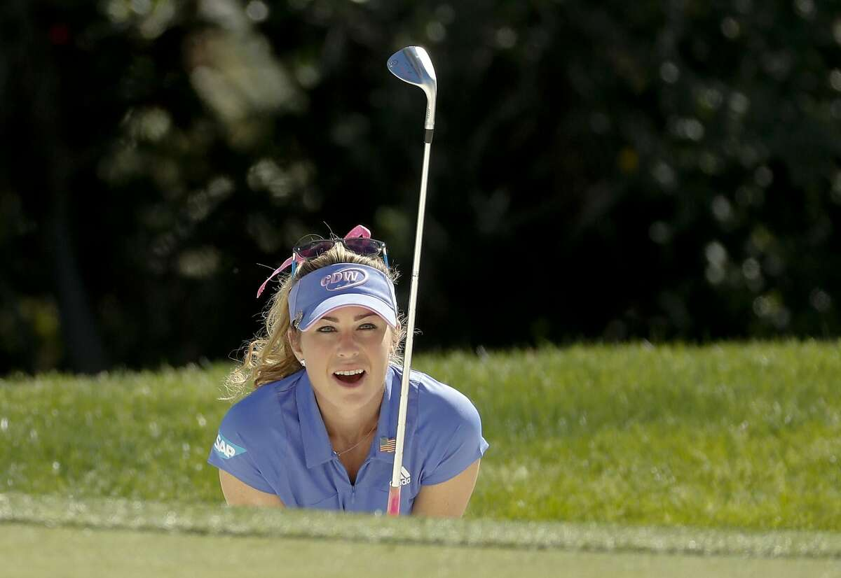 Paula Creamer reacts after almost making her bunker shot on the 15th hole during the second round of the ANA Inspiration on April 1, 2016. Creamer has accepted a special exemption into next month's U.S. Women's Open at The Olympic Club.