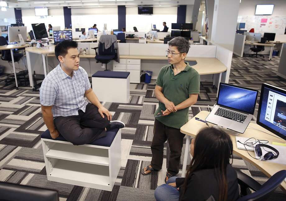 Top: Software developer Doug Wudel works in Sunnyvale. Above: Product man