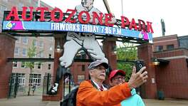 Marc (left) and Tracy Weiter, of St. Louis, Mo., take a selfie before the Memphis Redbirds and New Orleans Zephyrs baseball game at AutoZone Park Wednesday June 1, 2016 in Memphis, Tennessee.