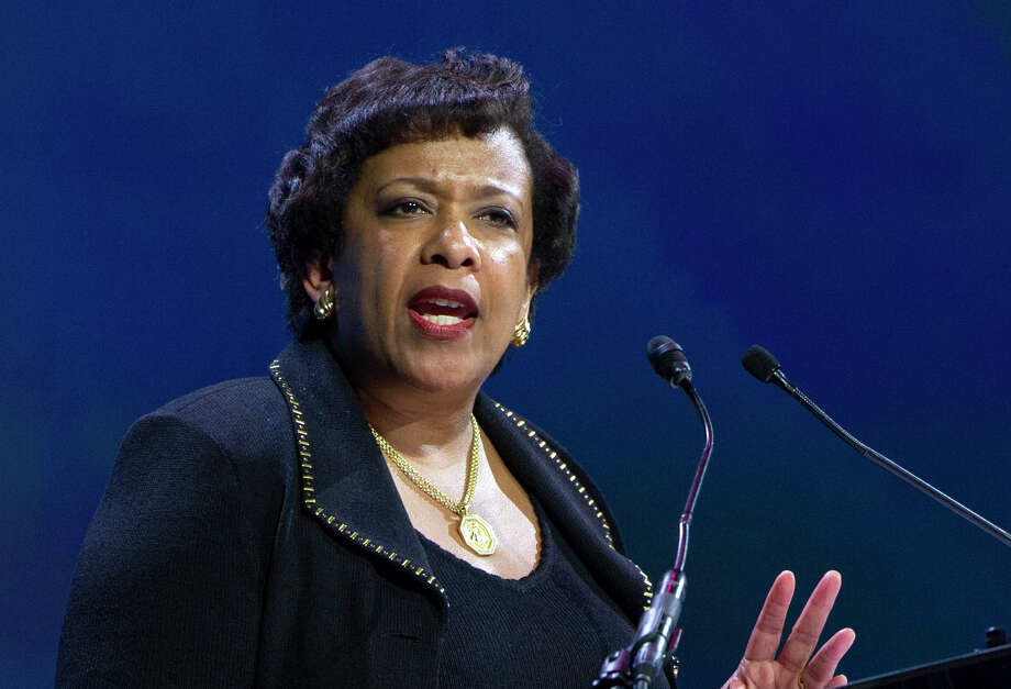 FILE - In this June 14, 2016 file photo, Attorney General Loretta Lynch speaks in Washington. Former President Bill Clinton spoke with Lynch during an impromptu meeting in Phoenix, but Lynch says the discussion did not involve the investigation into Hillary Clinton's email use as secretary of state. (AP Photo/Cliff Owen, File) Photo: Cliff Owen, FRE / Cliff Owen