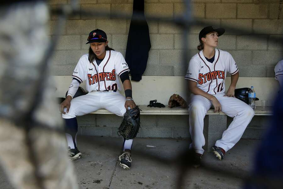 Kelsie Whitmore, 10 and Stacy Piagno, 12 get set to take the field. Both were signed to play for the independent minor league team the Sonoma Stompers who are taking on the San Rafael Pacifics on July 1. Photo: Michael Macor, The Chronicle