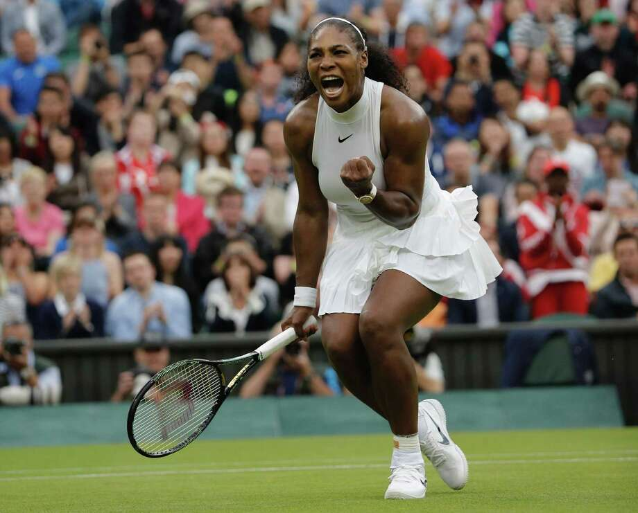 US player Serena Williams celebrates beating US player Christina McHale during their women's singles second round match on the fifth day of the 2016 Wimbledon Championships at The All England Lawn Tennis Club in Wimbledon, southwest London, on July 1, 2016. / AFP PHOTO / ADRIAN DENNIS / RESTRICTED TO EDITORIAL USEADRIAN DENNIS/AFP/Getty Images Photo: ADRIAN DENNIS / AFP or licensors