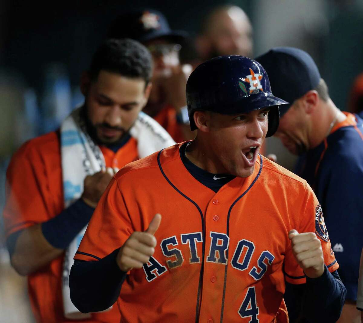 July 1: Astros 5, White Sox 0 Houston Astros right fielder George Springer (4) celebrates his run scored on a single by Carlos Correa during the fourth inning of an MLB baseball game at Minute Maid Park, Friday, July 1, 2016, in Houston.
