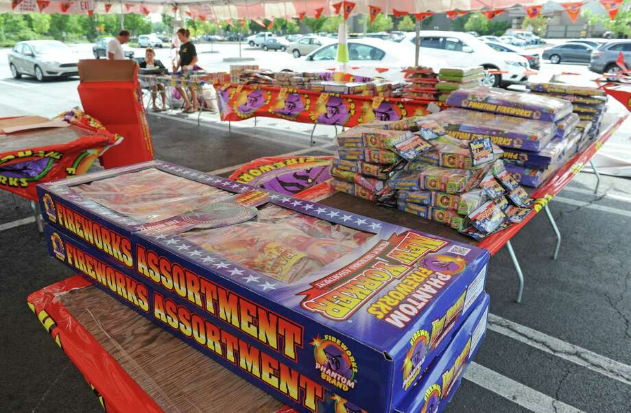 The Phantom Fireworks sales tent in the parking lot of Colonie Center on Friday, July 1, 2016, in Colonie, N.Y. (Michael P. Farrell/Times Union) Photo: Michael P. Farrell