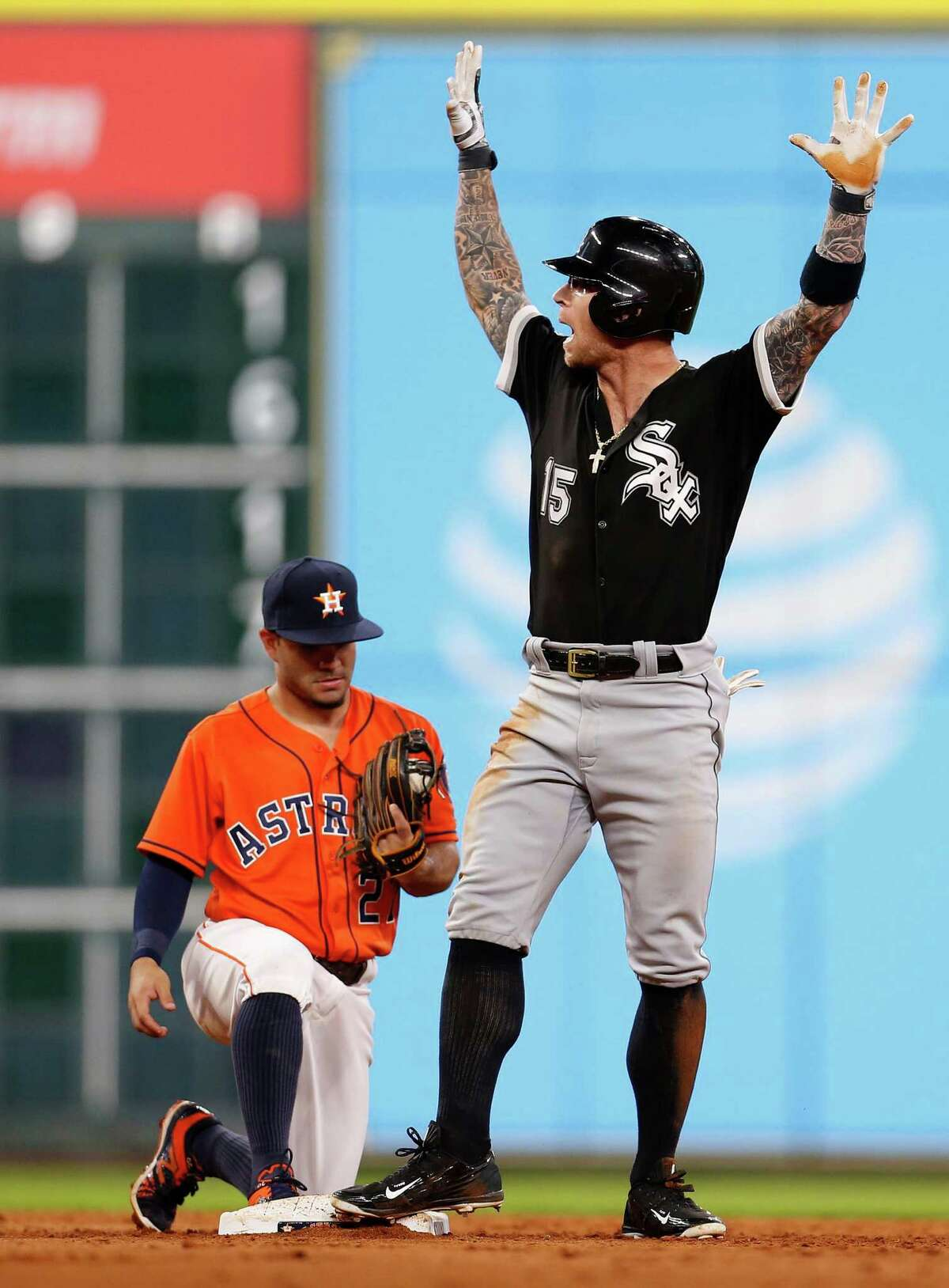 Chicago White Sox second baseman Brett Lawrie (15) reacts after his double during the sixth inning of an MLB baseball game at Minute Maid Park, Friday, July 1, 2016, in Houston.
