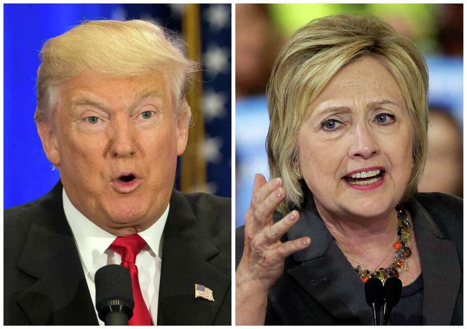 This photo combo of file images shows U.S. presidential candidates Donald Trump, left, and Hillary Clinton. Income inequality has been a rallying cry of the 2016 election, with more Americans turning fearful and angry about a shrinking middle class. Trump has pledged to restore prosperity by ripping up trade deals and using tariffs to return manufacturing jobs from overseas. Clinton has backed a debt-free college option and higher minimum wages to help the middle class. (AP Photo/Mary Altaffer, Chuck Burton) Photo: Mary Altaffer And Chuck Burton, STF / AP