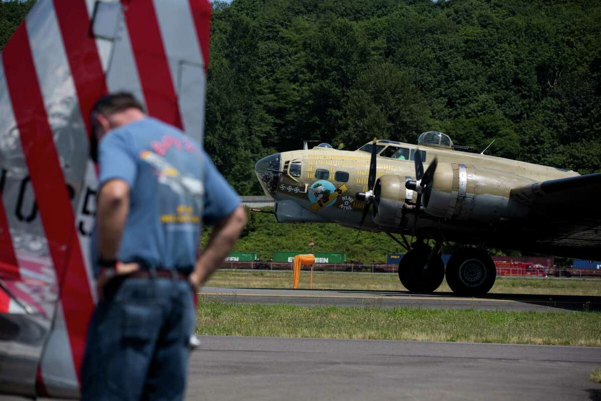 A B-17 Flying Fortress bomber taxis at Boeing Field outside the Museum of Flight as the Wings of Freedom Tour arrives to give rides to the public over the holiday weekend, Friday, July 1, 2016.