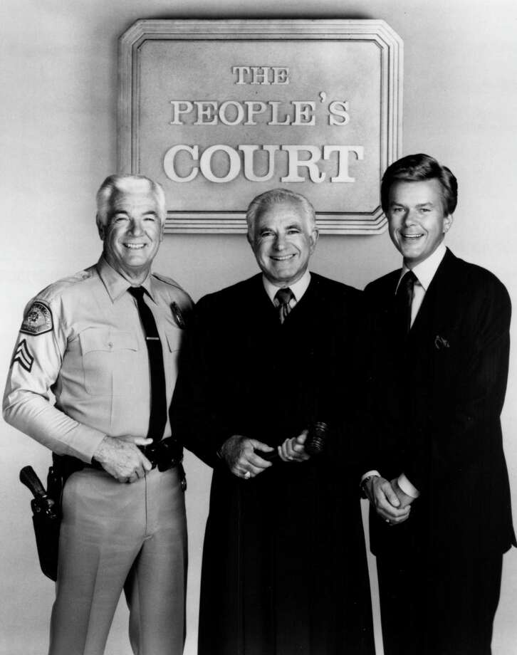 """""""The People's Court"""" cast, Rusty the bailiff, Judge Joseph Wapner and Doug Llewelyn. Photo: Contributed / The People's Court"""