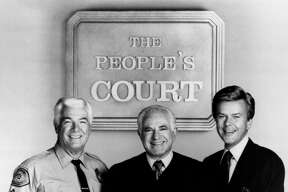 """The People's Court"" cast, Rusty the bailiff, Judge Joseph Wapner and Doug Llewelyn."