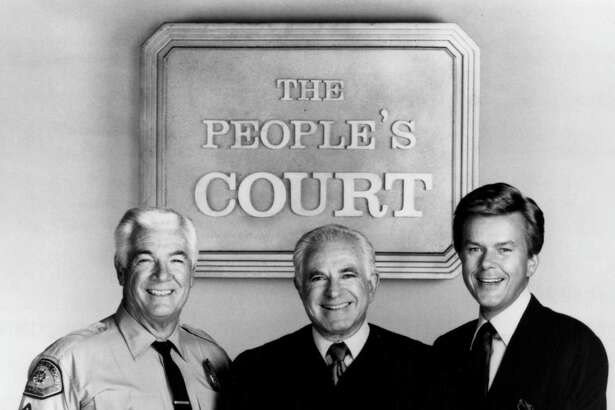 """""""The People's Court"""" cast, Rusty the bailiff, Judge Joseph Wapner and Doug Llewelyn."""